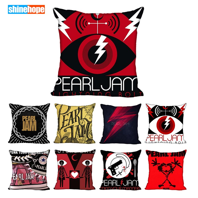 Custom Pearl Jam Square Pillowcase Custom Zippered Pillow Cover Case 40x40,45x45cm(One Side)