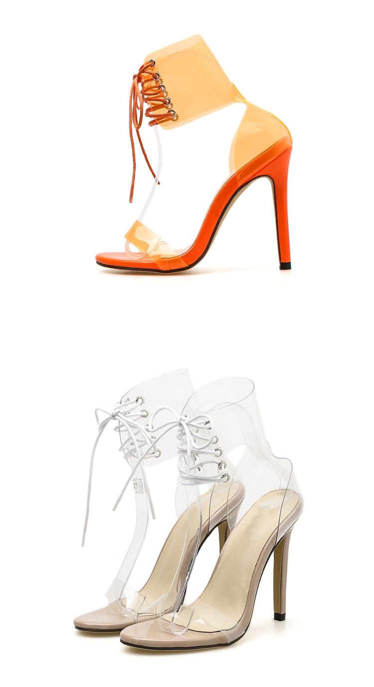 Eilyken 2019 PVC Jelly Lace-Up Sandals Open Toed High Heels Sexy Women Transparent Heel Sandals Party Pumps 11CM Sales Promotion