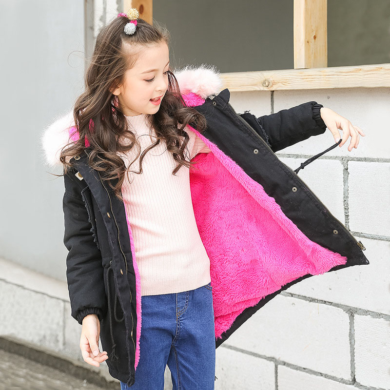 teenage girls winter coat long 2018 children's parkas red green padded thick fur hooded winter jackets for girls clothing teenage girls winter jackets children warming long camouflage coat outwears cotton padded hoode thick camouflage coat y846