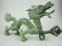Collection chinese Antique Brass Folk Old Bronze Dragon Statue bronze craft Copper sculpture home decoration