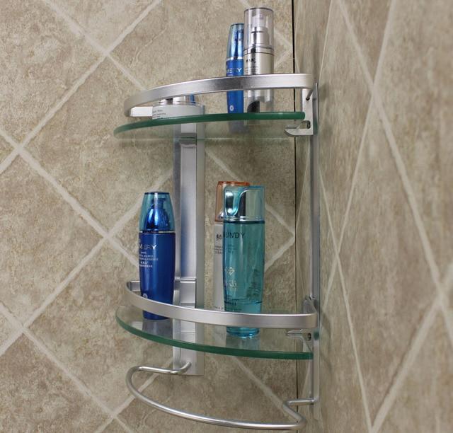 Modern design Bath Organizer Aluminum 2 tier corner glass shelf with towel bar bathroom accessories shelves for storage