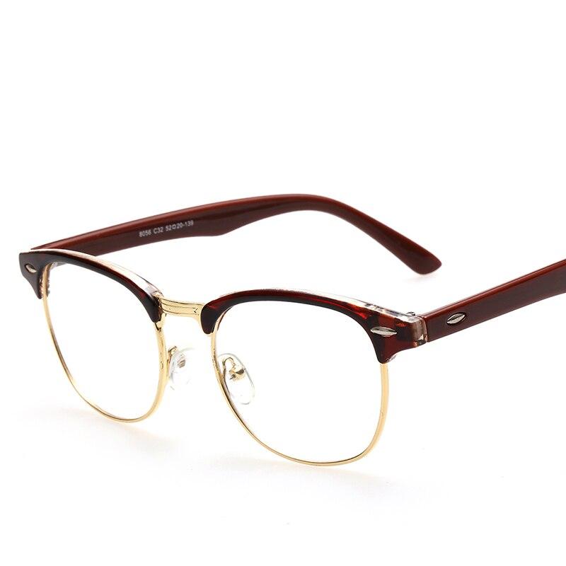 Woman Man Retro Glasses Leopard,Boys Vintage Semi rimless Eyeglasses ...