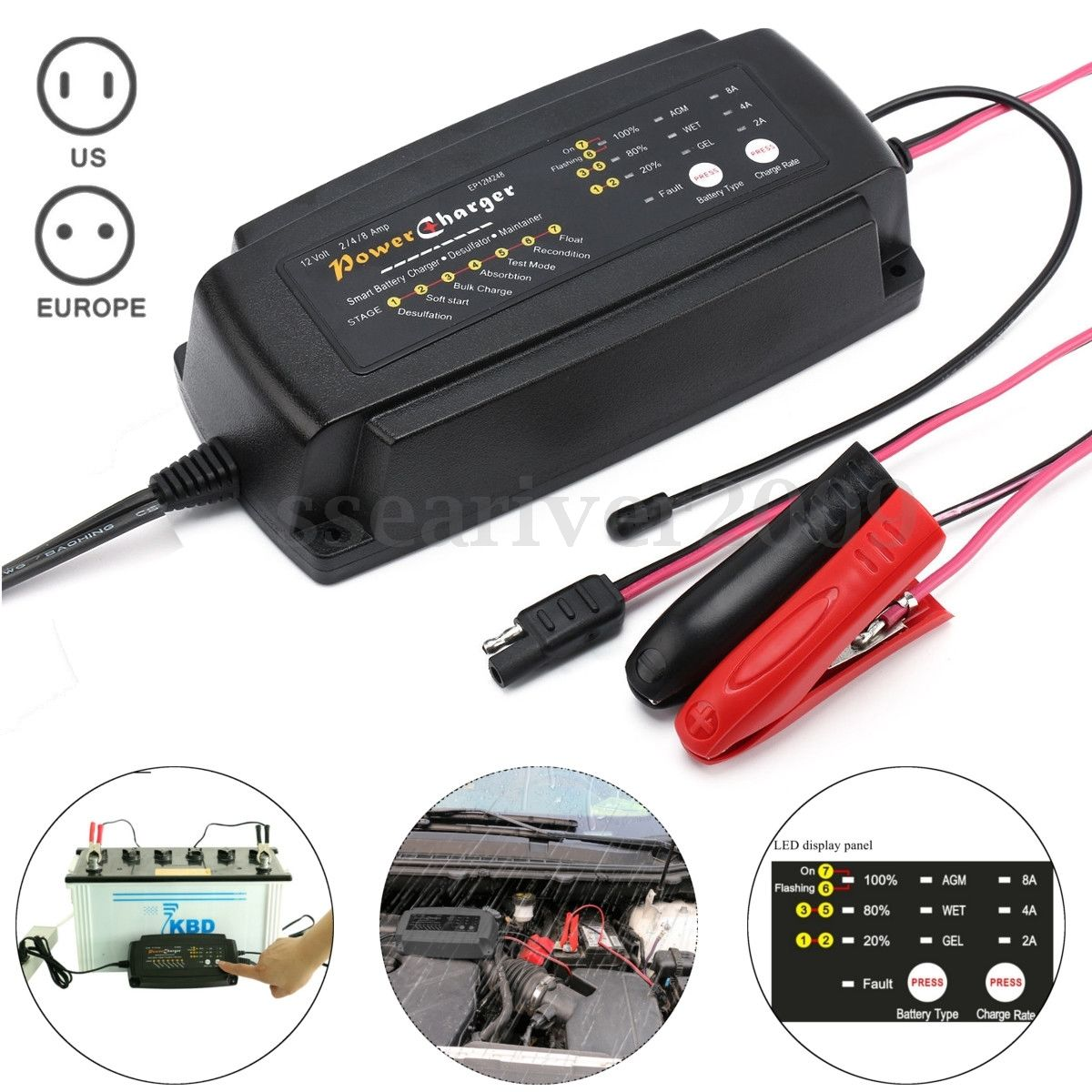 <font><b>12V</b></font> 2/4/8A Automatic Smart Car <font><b>Battery</b></font> Charger 7-Stage Maintainer &#038; <font><b>Desulfator</b></font> Car Motorcycle GEL WET AGM <font><b>Battery</b></font> type &#038; Charge