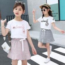 kids clothes Girls Summer Set 2019 New 4-12 Years Girl Set Short Sleeve T-Shirt Ruffle Short Skirt Kids Set