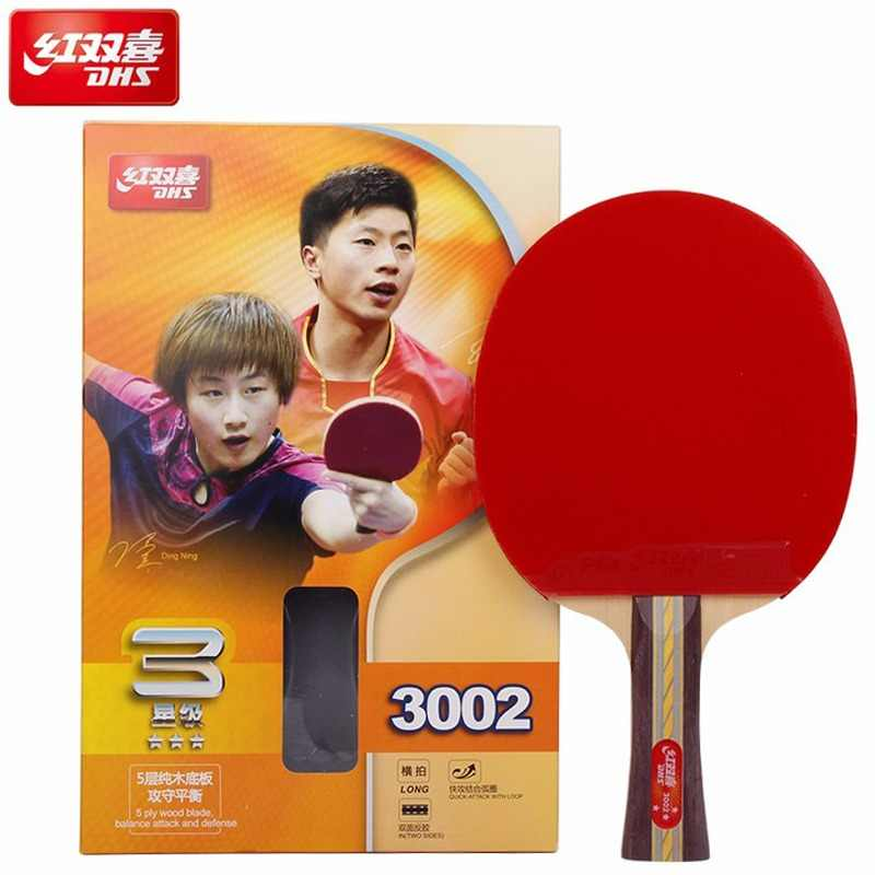 DHS Original 3-Star Table Tennis Racket (3002, 3006) with Rubber (PF4-1, Pips-in) Ping Pong Bat