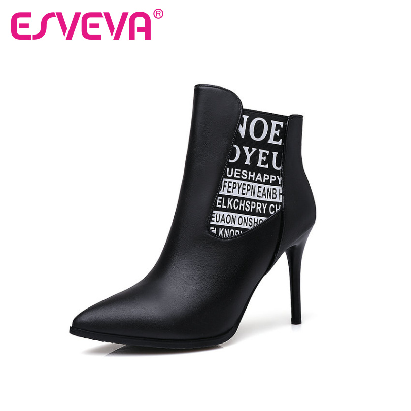 ФОТО ESVEVA Sexy Autumn Real Leather Shoes Women Thin High Heel Woman Ankle Boots Zipper Women Shoes Ladies Fashion Boots Size 34-39