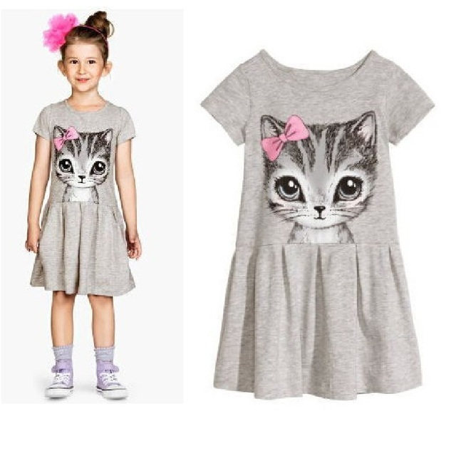 Hooyi Grey Girl Dress Summer kids dresses Cotton Children clothes Cat Baby Clothing blouse Short Sleeve Jumpers