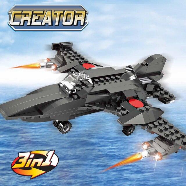RC, 231 piezas 3in1 avión de combate creador bloques de construcción ilumine juguetes educativos ladrillos para niños Legoingly regalo