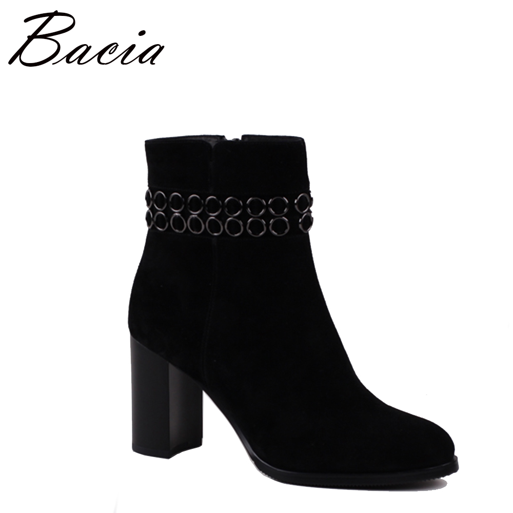Bacia Sexy Women Boots Sheep Suede Winter High Heels Ankle Boots Shoes Women Fall Ladies Short Boots Snow Fur Zip SB078