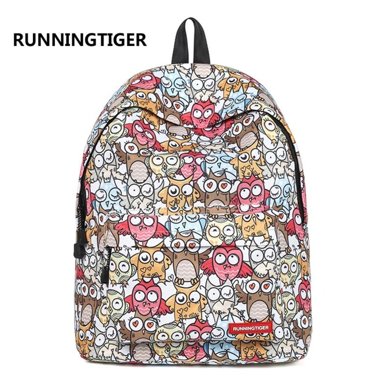 2018 Women Owl Printing Laptop Backpack Childrens Schoolbag Travel Weekend Bag Student Mochila Gift Bag Casual Rucksack Daypack