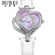 Burei elegante de las señoras en forma de corazón lente de zafiro del cuarzo de cuero genuino reloj de pulsera a prueba de agua con las primas de paquete 13006