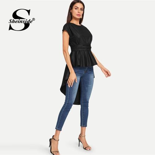 63742ce036 ... Sheinside Black Asymmetrical Belted Office Ladies Top Plain Sleeveless  High Low Pleated Women Summer Elegant Long ...