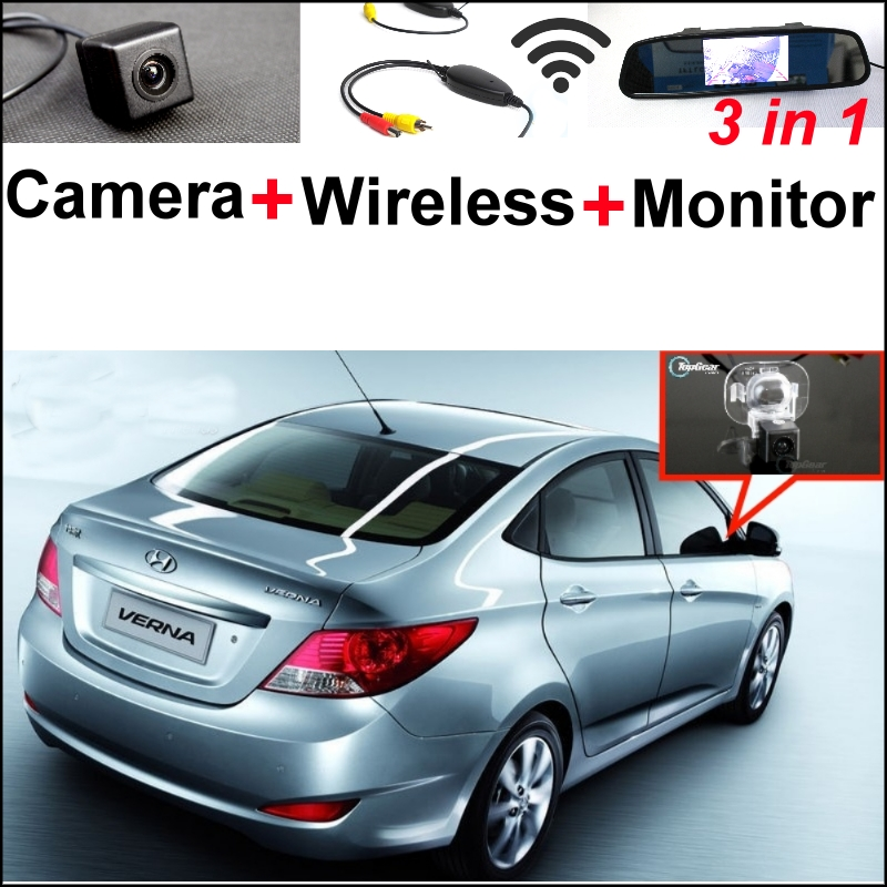 Special Rear View Camera + Wireless Receiver + Mirror Monitor 3 in1 Easy  Parking System For Hyundai i25 Verna 2012~2015 wireless pager system 433 92mhz wireless restaurant table buzzer with monitor and watch receiver 3 display 42 call button