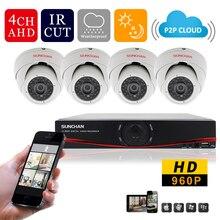 SUNCHAN 960P 1.3MP CCTV system 4CH 1080P HDMI HD 720p AHD DVR kit 4*960p Outdoor video surveillance security camera system