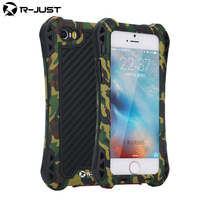 Waterproof Carbon Fiber Metal Aluminum Armor Phone Cover Shell Case For Iphone 5 5s 6 6G