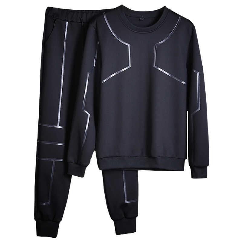 男性トラックスーツセット固体汗スーツ男性トラックスーツセットコート + パンツパーカー男性 Moletons Masculino 2018 新しい