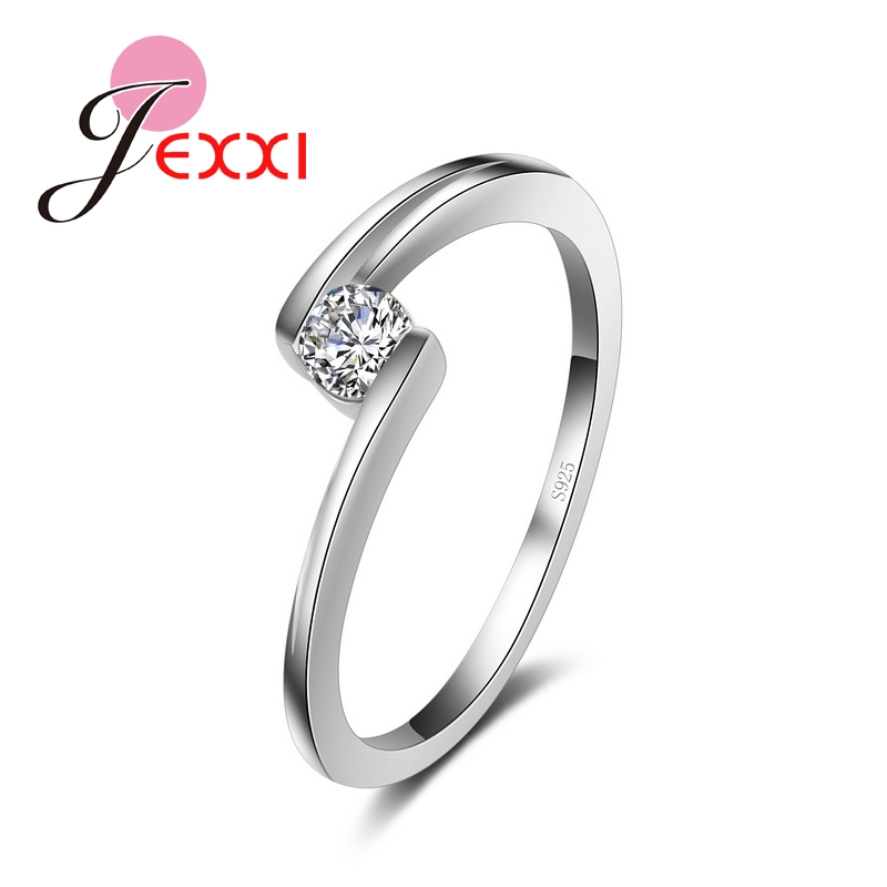Women/Girls Simple Design Fashion Wedding Engagement Finger Rings 925 Sterling Silver CZ Ring Party Decoration Free Shipping