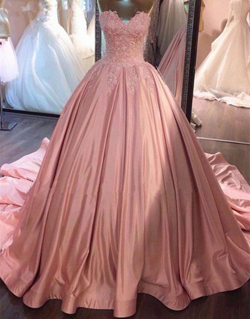 Sweet 16 Year Pink Quinceanera Dresses 2019 Vestido debutante 15 anos Ball Gown Sweetheart Sheer Lace Prom Dress For Party