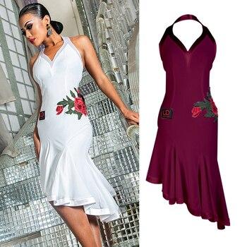 ef22df2a Vestido de baile latino blanco rosa sin espalda Tango Cha-Cha Salsa  rendimiento ropa de práctica Samba Rumba para mujer DNV10407