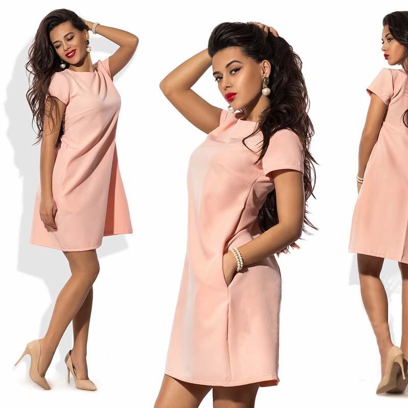 Ermonn 2017 hot summer dress solid natural o-cuello bolsillos estilo casual enci