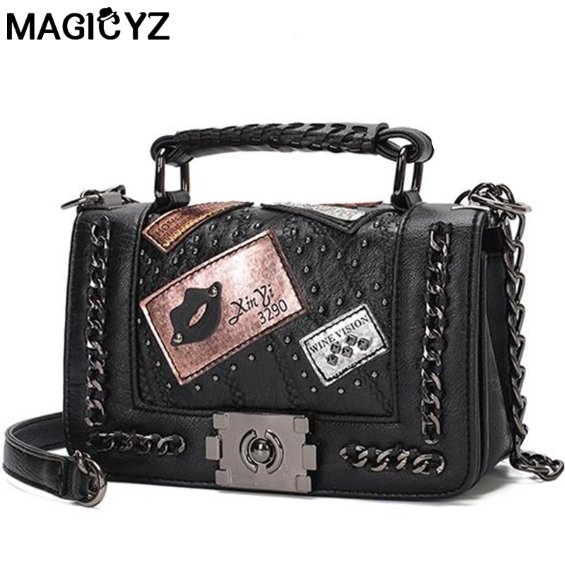 luxury handbags women bags designer Ladies Hand Bag rivet Messenger Bag single Chain Shoulder Bags bolsos mujer sac a main femme punk rivet handbags women bags designer brands shoulder bags chain messenger bag clothes shape black tote bolsas femininas a0337