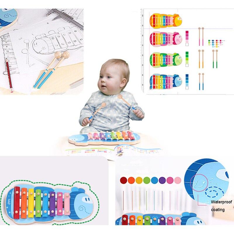 Xylophone de bande dessinée de 8 clés d'enfants pour des jouets d'instrument de musique de fabricant de bruit de bébé d'enfants avec le maillet