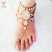 Barefoot Sandals Foot Jewelry Gold Color Wedding Jewelry Wedding Sandals Anklet Foot Thong Beach Wedding Shoes
