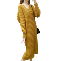 Autumn Winter V Neck Sexy Maxi Comfortable Casual Women Sweater Jurk Dresses Loose Knitted Long Robe