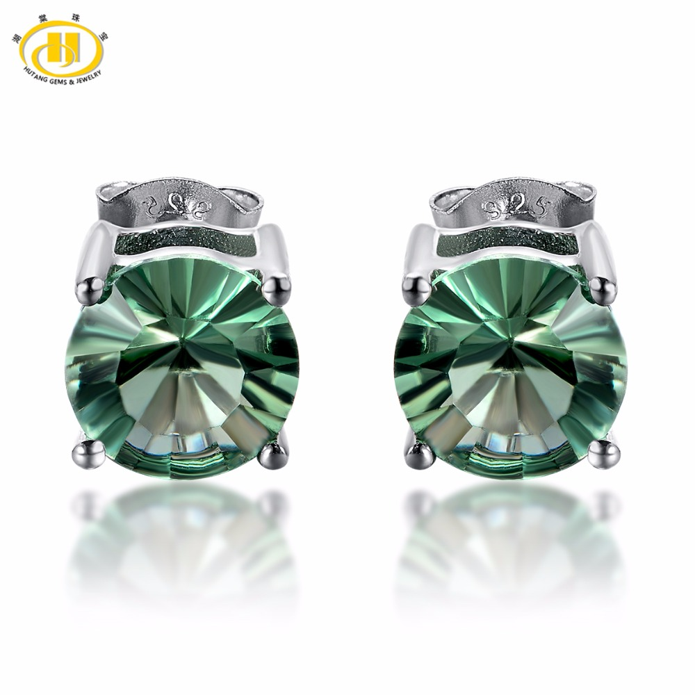 Hutang Round 8mm Stud Earrings 5.14 Ct Natural Colorful Gemstone Fluorite 925 Sterling Silver Fine Jewelry For Women Girl Gift