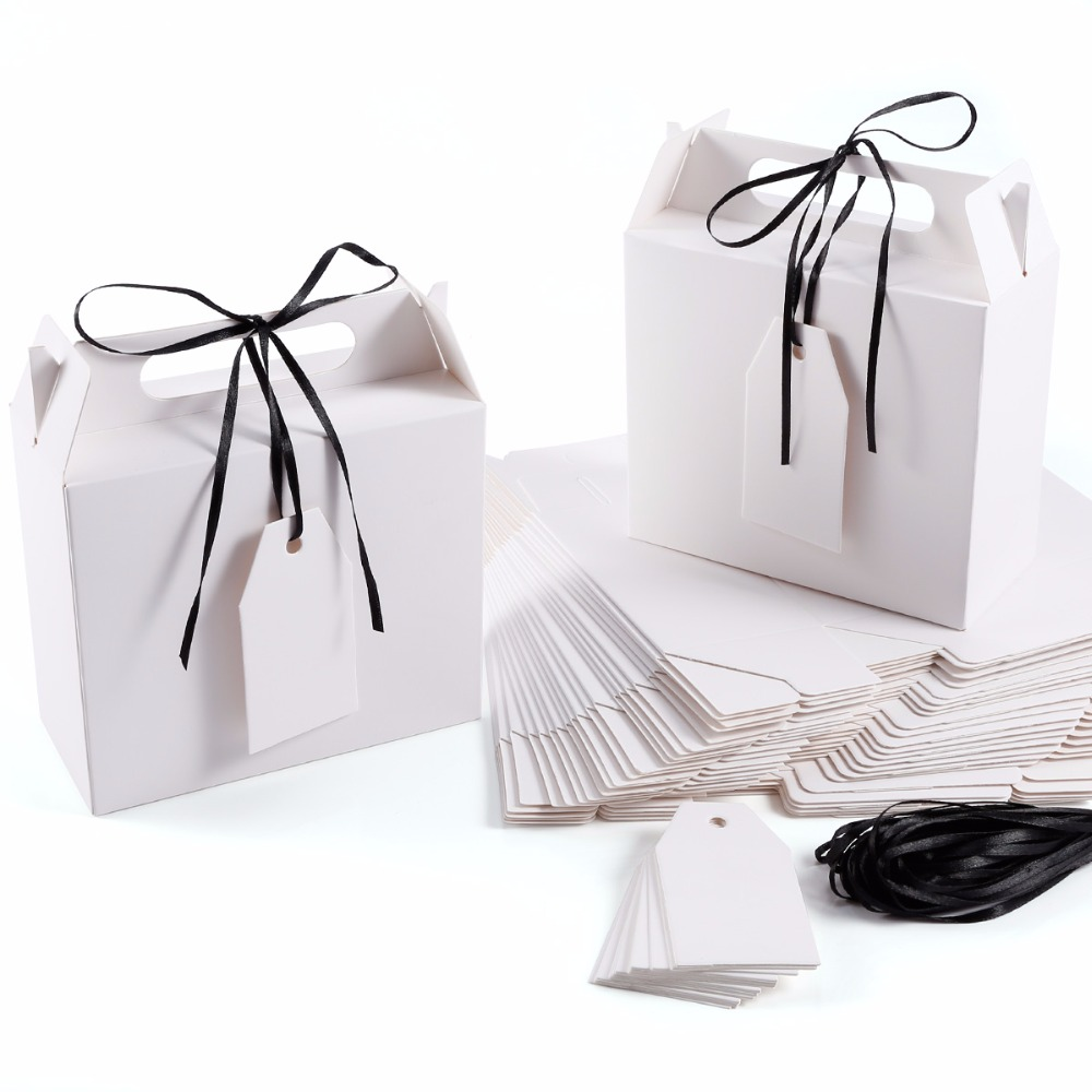 25 Pack Paper Box Candy Sweet Holder with Black Ribbon & Gift Tags ...