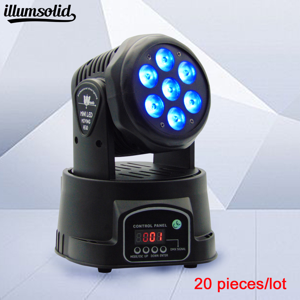 20pieces/lot china LED led wash mini moving head light 7x12w rgbw 4in1 leds advanced DMX 9/14 channels dj band lights цена