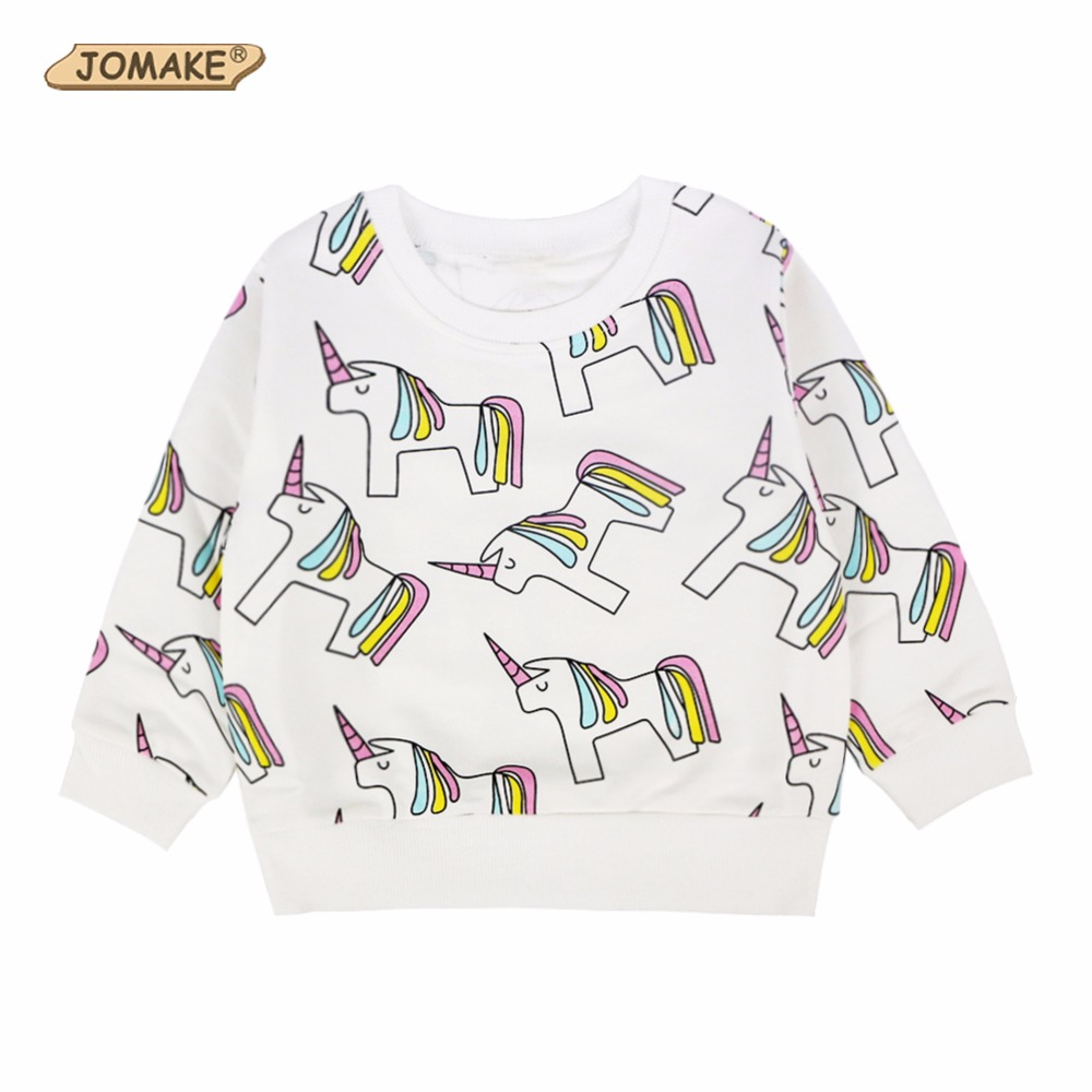 Cartoon Unicorn Pattern Girls Sweatshirt 2017 Spring Autumn Cute Girls Boys Pullover Kids Casual Tops Toddler Children Clothing