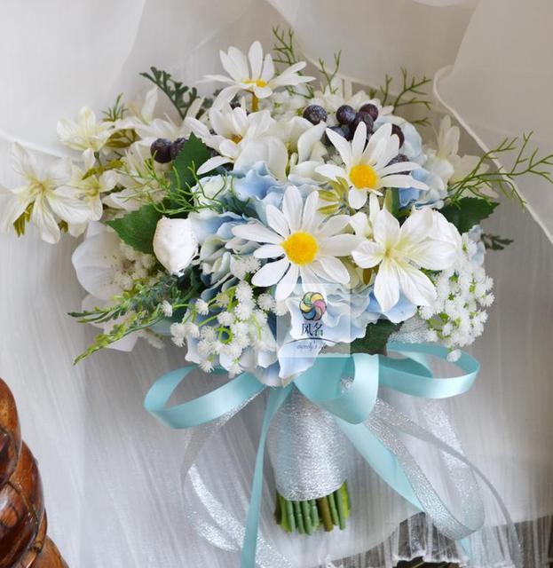 Fresh Elegant Silk Flower Bridal Bouquet Skyblue Wedding Bouquet ...
