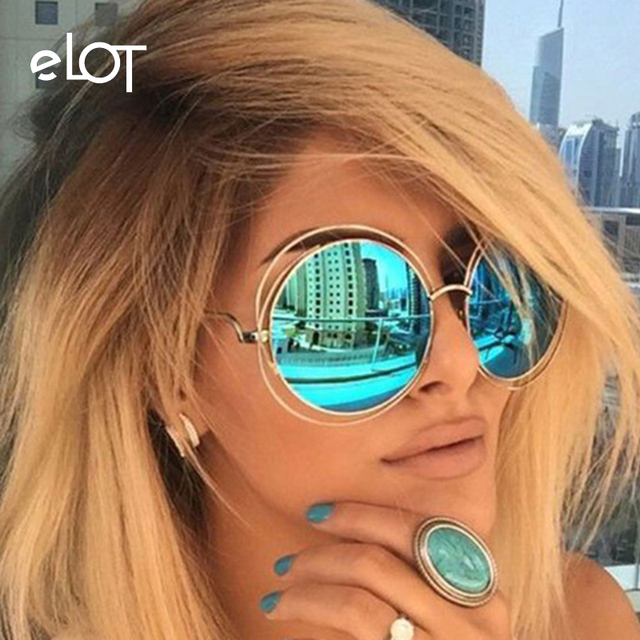 7f87263ef00 ELOT Fashion Ladies Oversized Round Sunglasses For Women Brand Designer  Mirror Big Hollow Frame Sun Glasses Female UV400