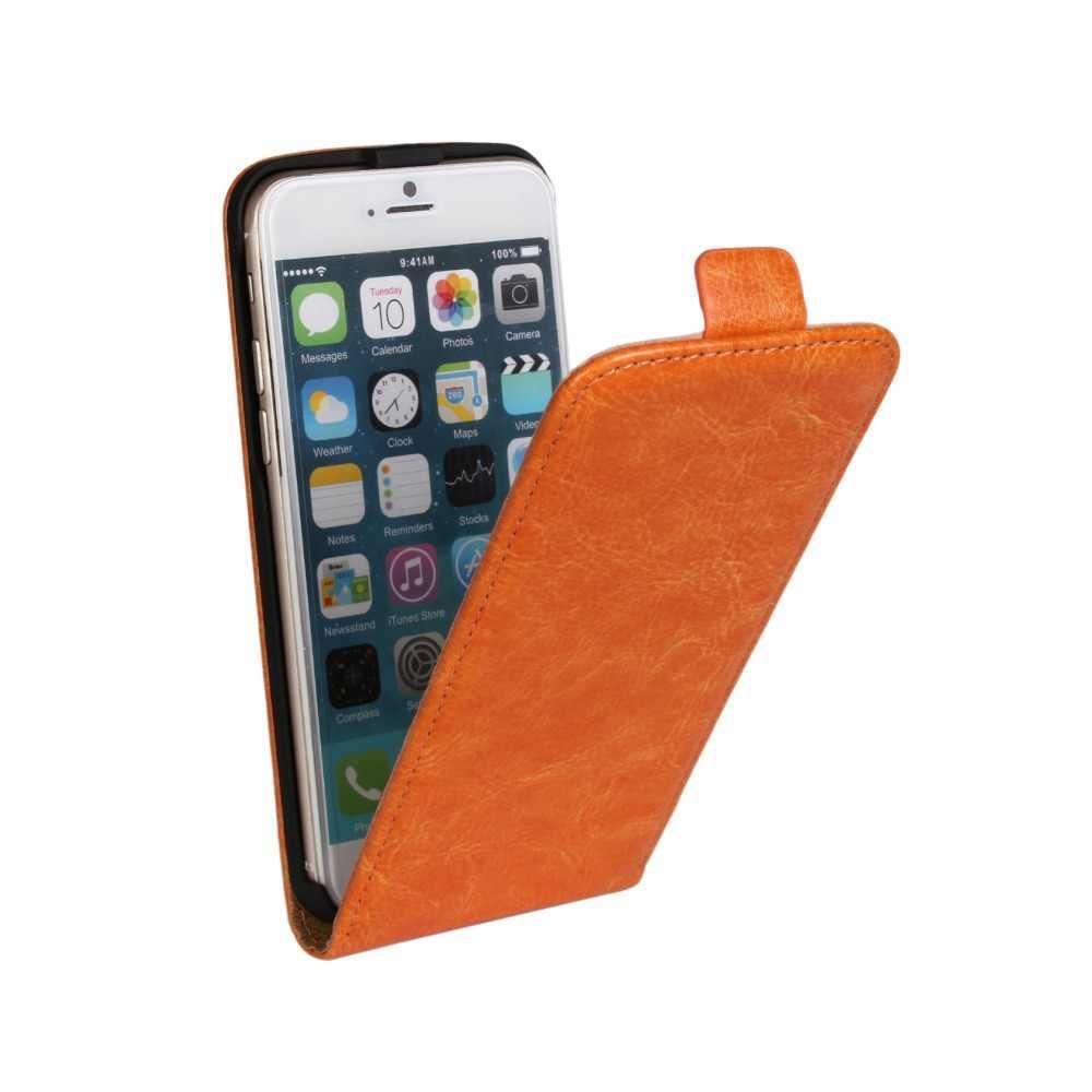 Ультратонкий Модный искусственная кожа Crazy Horse чехол для iPhone 4 4S 5 5S SE 6 6s 7 plus с вертикальной Откидывающейся Крышкой чехол для телефона чехол