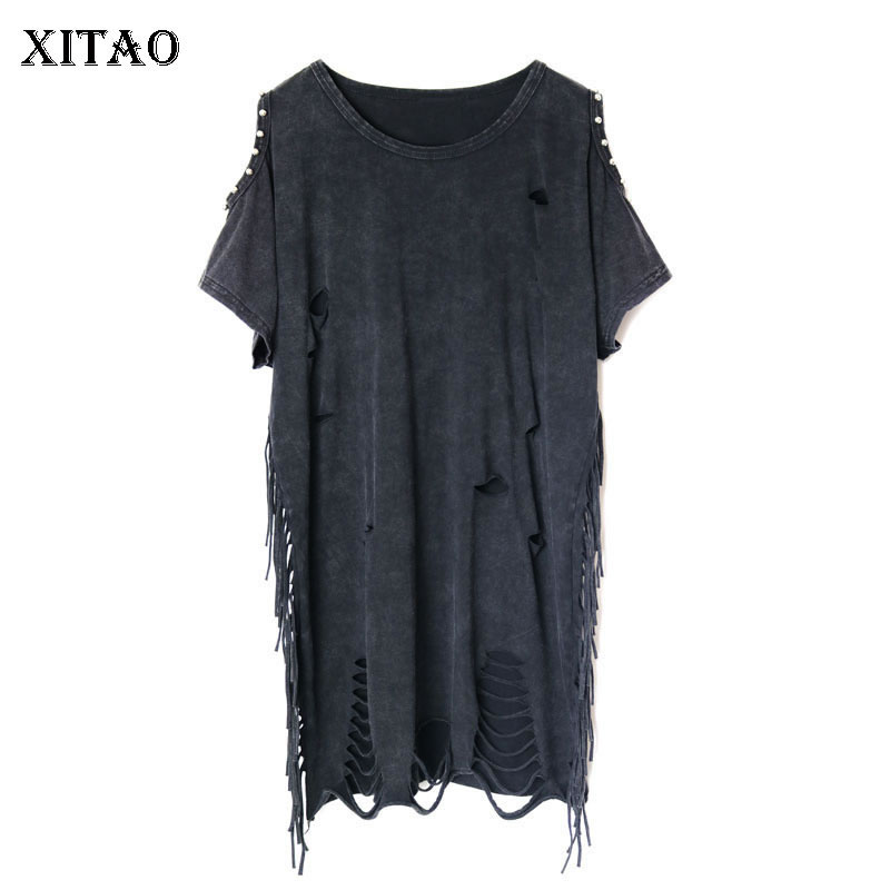 XITAO Hole Plus Size T Shirt Women Tassel Beading Off Shoulder Top Punk Fashion Clothes O-neck  2019 New Pullover WLD1087