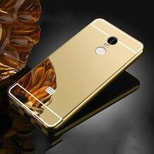 Роскошные зеркало алюминиевый сплав назад коке чехлы для xiaomi redmi note 4 4x redmi 4 премьер-4a