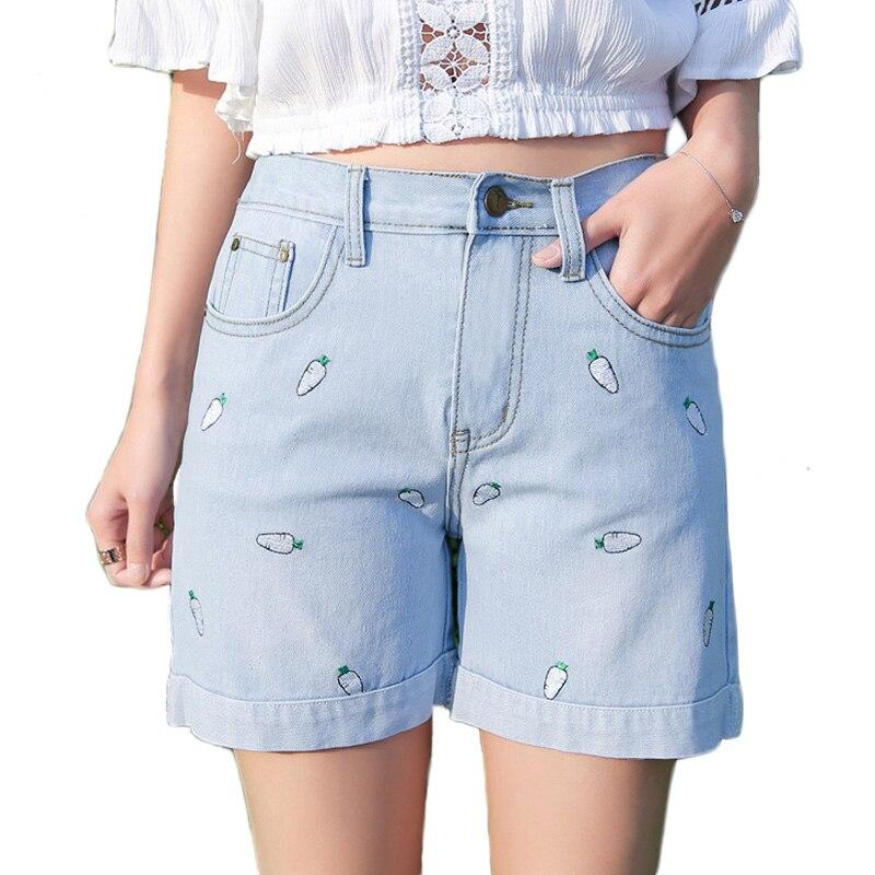 2017 Curling Plus Size Denim   Shorts   Women Summer Pineapple Flower Embroidery Cotton Denim   Shorts   casual female waist Jeans   Short