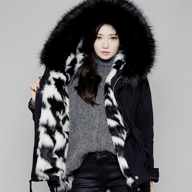 Women Fur Hooded Parka Padded Eal Fur Parka Black Army Green Fake Fur Lined Coat Parka 2017 nike alliance parka 550 hooded