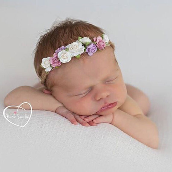 2016 ახალი სტილი Tieback Flower Crown Headband for Newborn Photo Prop Baby Tieback Headband თმისთვის Baby Girls Flower Crown