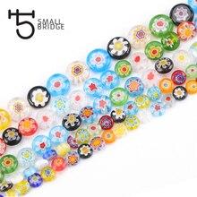 6 8 10 мм муранские Цветочные бусины для самостоятельного изготовления ювелирных изделий Аксессуары для рукоделия разноцветные Круглые Стеклянные Бусины Q601