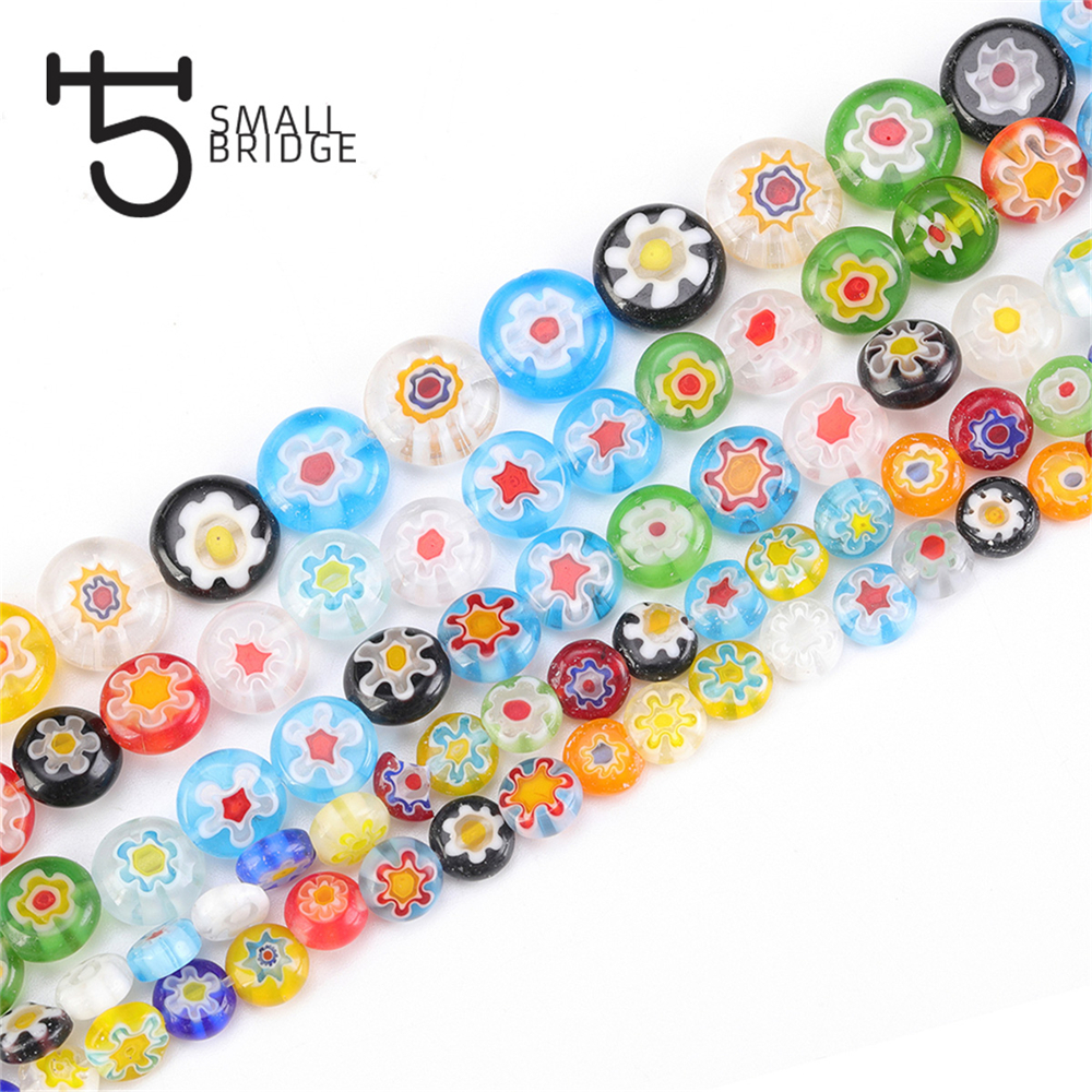6 8 10mm Murano Lampwork Flower Beads For Jewelry Making Diy Crafts Accessories Multicolor Round Glass Beads Wholesale Q601(China)