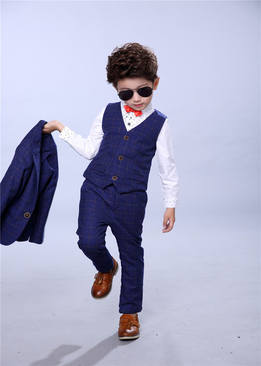 Kids Baby Boy Clothes Formal Wedding Suit Plaid Jackets