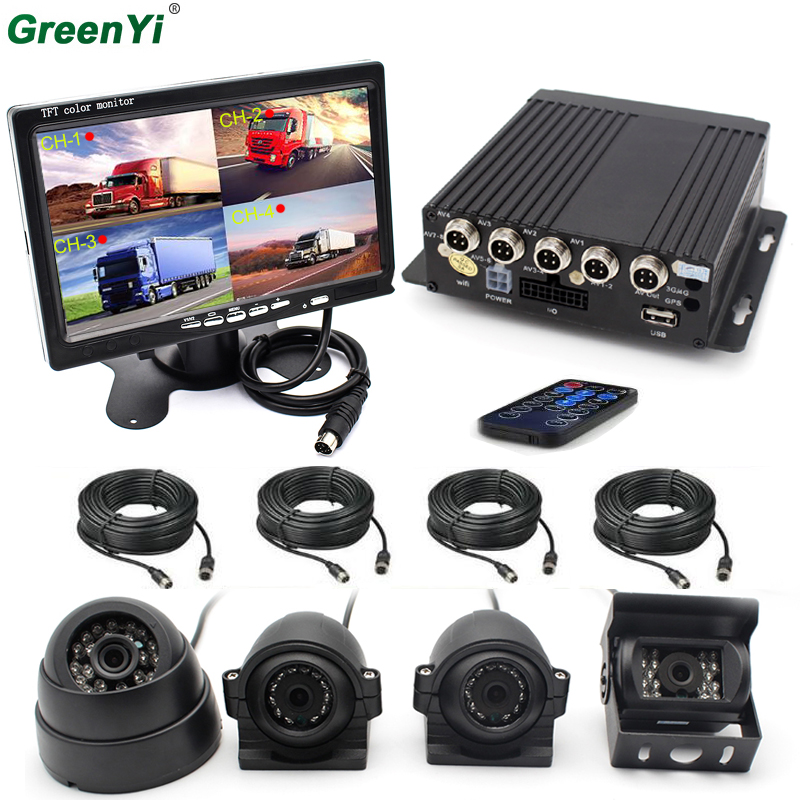 4 Weatherproof Side View Car Cameras 7 Car Monitor 4 Channel AHD 720P H 264 Mobile