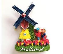 Holland Dutch windmill couple characteristics tourist souvenir refrigerator