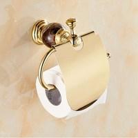 Luxury Jade brass gold paper holder roll paper holder toilet gold paper holder with cover tissue box Bathroom Accessories