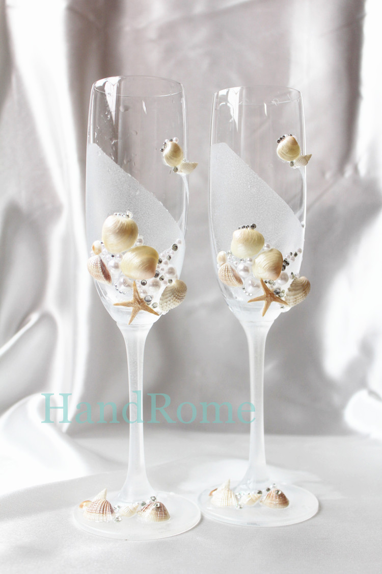 Handmade wedding champagne glasses, decorated with real starfish ...