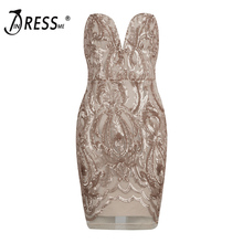 INDRESSME Sexy Women Bandage Dress Fashion Strapless Deep V Sequined Solid Mini Backless Women Party Dress Vestidos 2017 New
