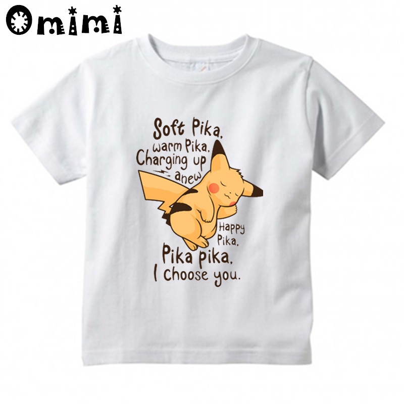 Baby Boysgirls Pokemon Go Pikachu Printed T Shirt Kids Soft Pika Shor