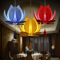 Chinese cloth Chinese style cloth Pendant Lights art size lotus imitation classic lotus leaf lamp stair aisle Art ZS120